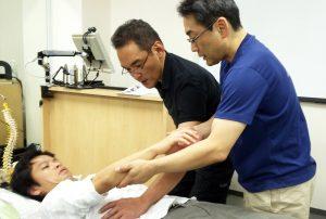上肢の動きを使って腹部にアプローチ